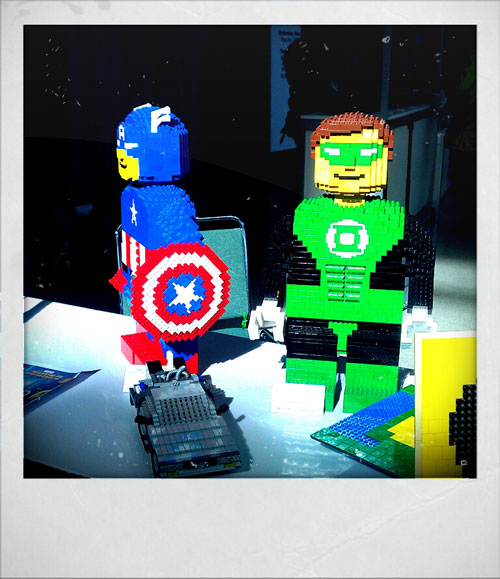 Captain America and Green Lantern made from Lego
