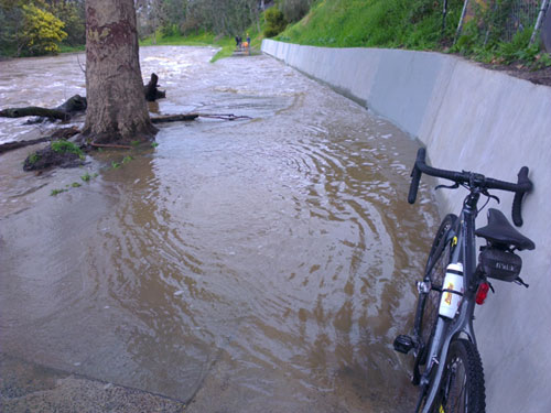 Flooded bike path