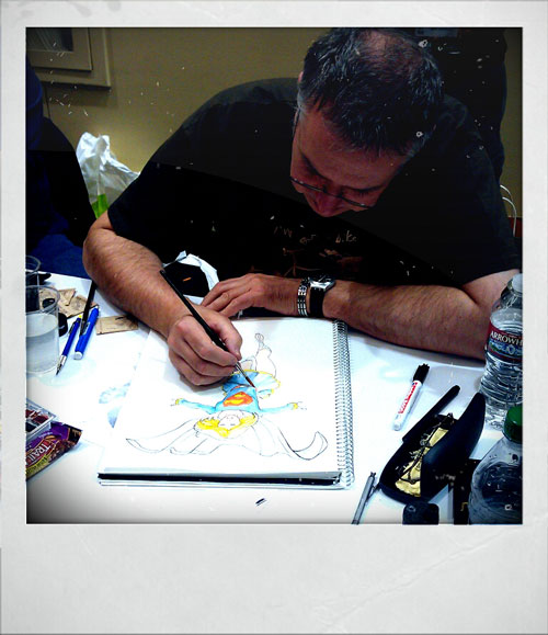 Barry Kitson working on his first Supergirl piece for the day