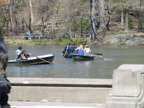 People rowing boats on one of the lakes in Central Park