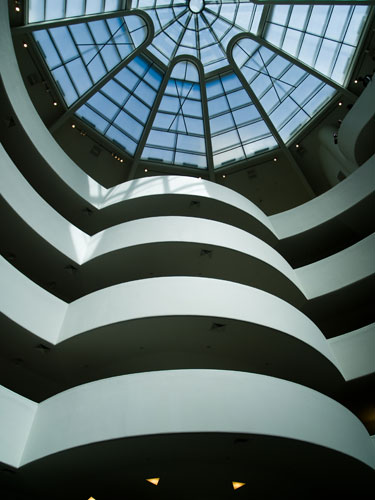 Part of the skylight and spiral walkway of the Guggenhiem