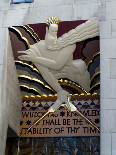Carving over one of the doors to the Rockefeller Centre