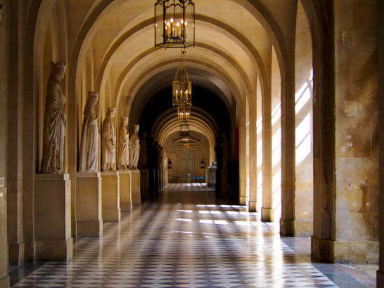 Hall lined with statues