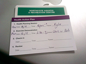 Gym membership and appointment card